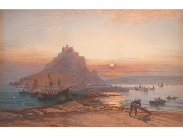 Thomas Hart (British, 19th Century) View of St Michael's Mount 52.5 x 80 cm.