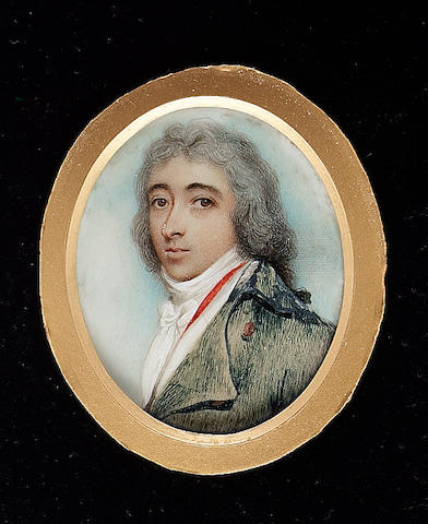 Andrew Plimer, A Gentleman, called Charles Cumberland, wearing blue-green coat, red-lined white waistcoat and white cravat, his hair powdered and worn en queue