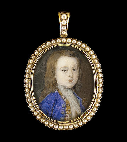 Bernard Lens III , A young boy, called Gerard Johnson, wearing blue coat with silver buttons, figured gold waistcoat decorated with bands of floral brocade and white cravat, his hair long and falling over his shoulders