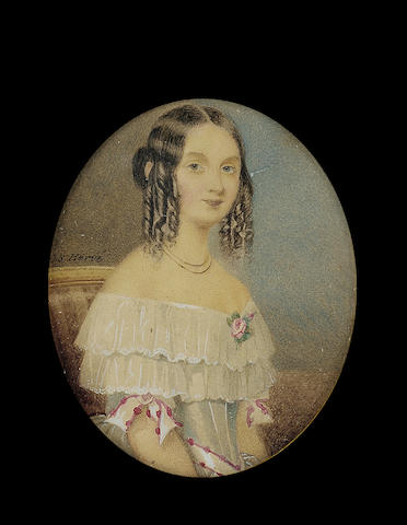 Charles S(amuel) Hervé, A young Lady, seated in a chair upholstered with striped pink silk, wearing white dress with layered collar and pink trimmed ribbons on the sleeves and waist, rose at her corsage and necklace, her hair in ringlets