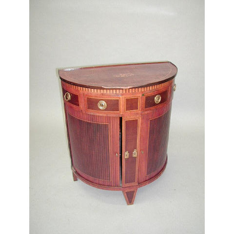 An Edwardian mahogany crossbanded and satinwood strung half round side cabinet,