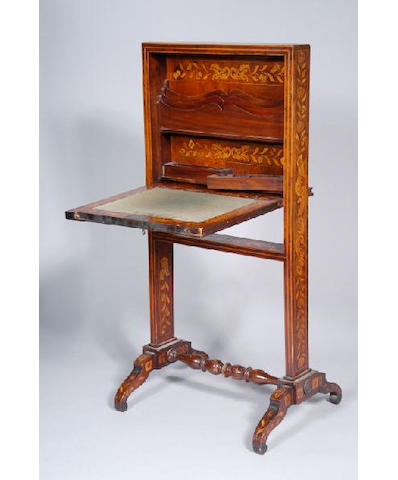 An Edwardian marquetry and satinwood banded writing desk,