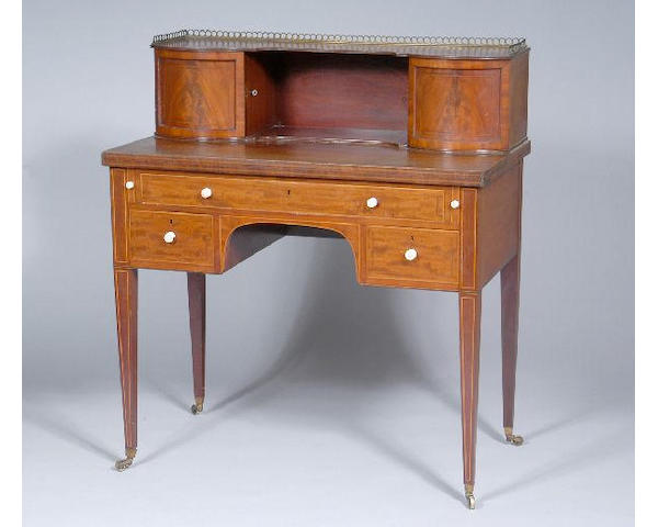 A Regency mahogany chequer strung and satinwood banded bonheur du jour,