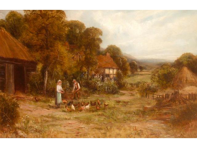 Robert John Hammond Feeding the chickens; and a companion, each 39.8 x 59.8cm (2)