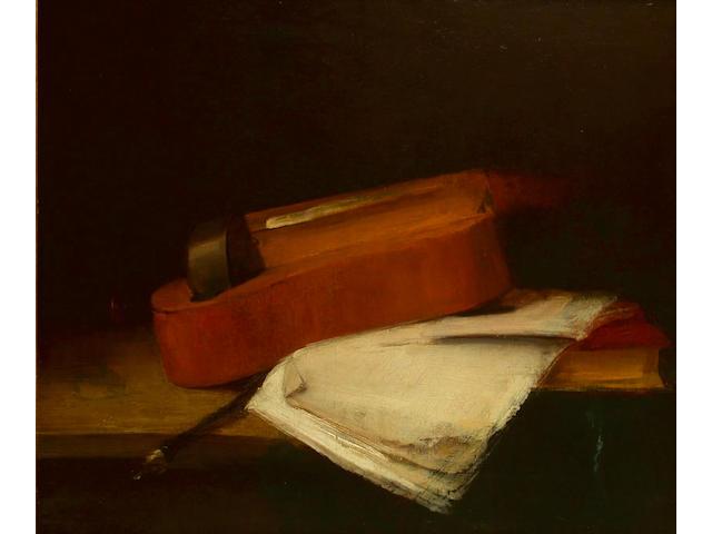 Antoine Vollon (French, 1833-1900) A still life of a violin 36.5 x 75cm