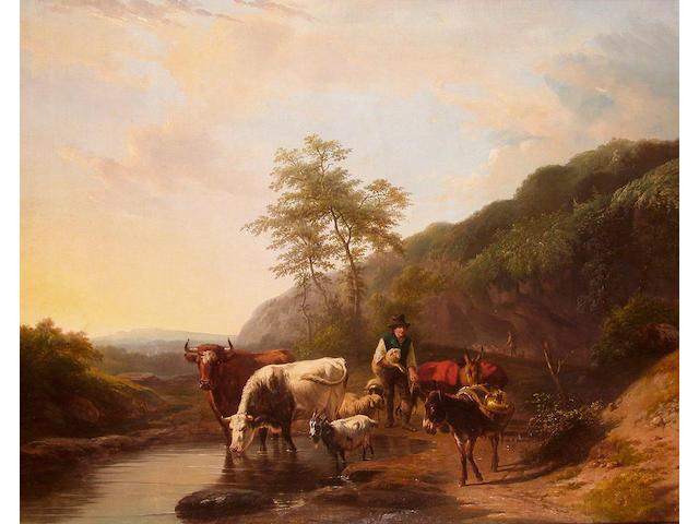 Frans Lebret (Dutch, 1820-1909) The watering place, 81.5 x 99.5cm