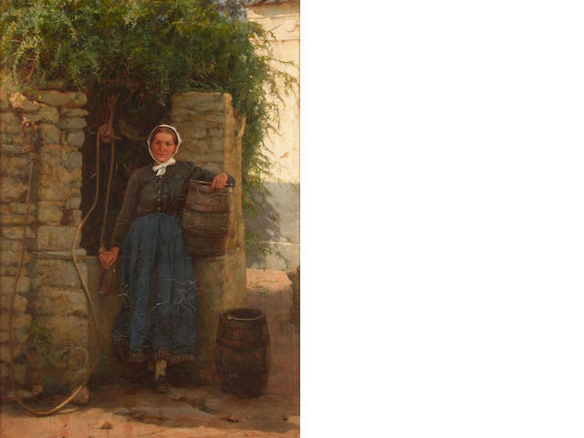 Frank William Warwick Topham (British, 1838-1924) Portrait of a woman at a well  50 x 34.7cm