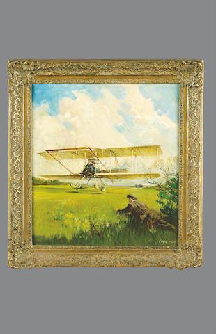 Geoffrey De Havilland (1882-1965) taking off in 1909, by Terence Cuneo, 35 x 39cm.
