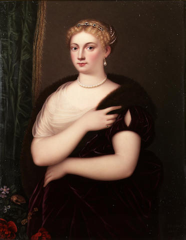 Henry Bone R.A. (British, 1755-1834), Sofonisba Regina, wearing single shouldered deep burgundy velvet dress with slashed sleeve, white gauze underslip, emerald ring, pearl necklace, drop pearl earring, jewelled headband and strand of pearls twisted in her upswept blonde hair, a gold-trimmed green velvet curtain in the background and flowers to her right