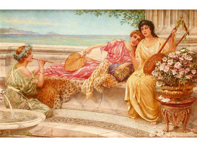 Thomas Watt Cafe (British, 1856-1925) Summer Idylls 40.5 x 61.5 cm.