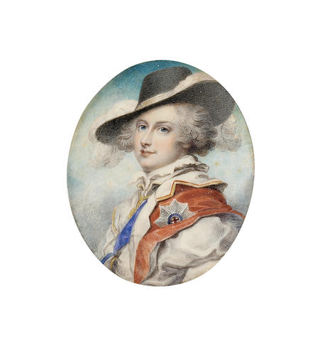 Richard Cosway, R.A., An important portrait of George IV, as Prince of Wales (1762-1830), wearing fancy dress ('Prince Florizel' costume), comprising yellow-trimmed white doublet over a white shirt with high collar, red cloak with the blue ribbon and star of the Garter and black broad-brimmed hat trimmed with white plumes, his hair powdered