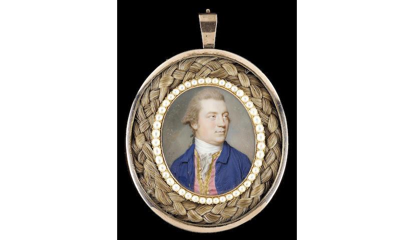 John Smart, A Gentleman, wearing blue coat, gold-trimmed pink waistcoat, white stock and frilled cravat, his natural hair worn en queue