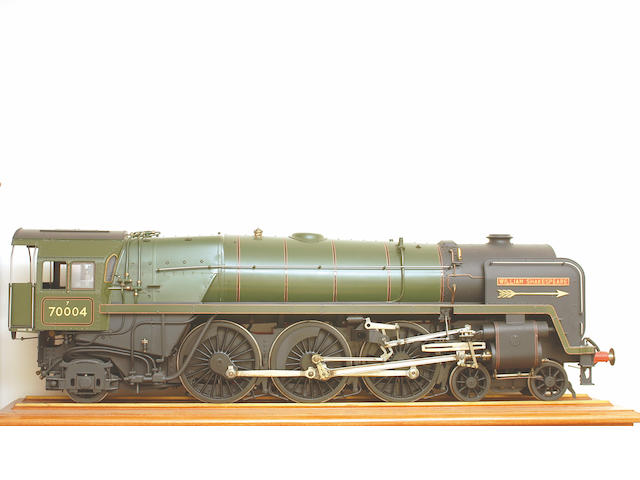"A highly detailed well engineered 5"" gauge model of the British Railways Pacific 4-6-2 Britannia Class locomotive No. 70004 'William Shakespeare' built by John Adams,"