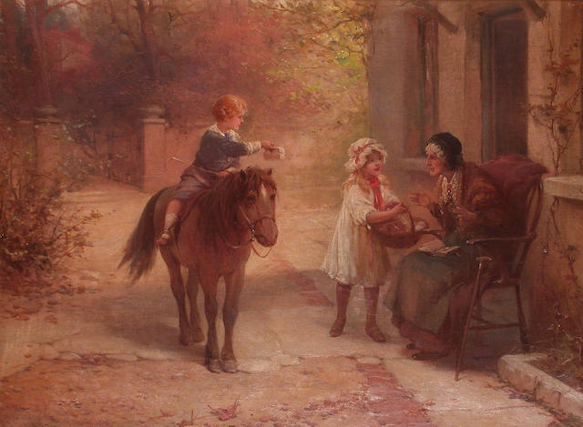 Alexander Rosell (British, 1859-1922) Presents for Grandma 54.7 x 75cm
