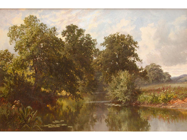 Walter Wallor Caffyn (British, 1845-1898) Summer time by the Moat near Brockham; River landscape, each 41 x 30.5cm (2)