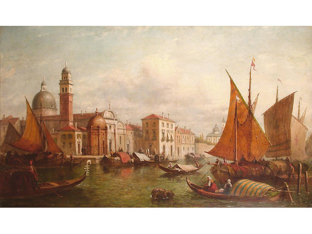 Attributed to Alfred Pollentine Venetain canal with shipping and gondolas, 75 x 126cm
