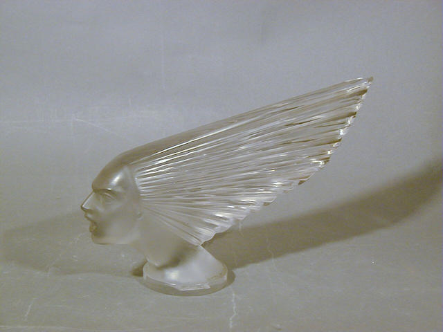 René Lalique, design 1928 'Victoire', A Frosted Car Mascot 26.5cm long, moulded 'R.Lalique'