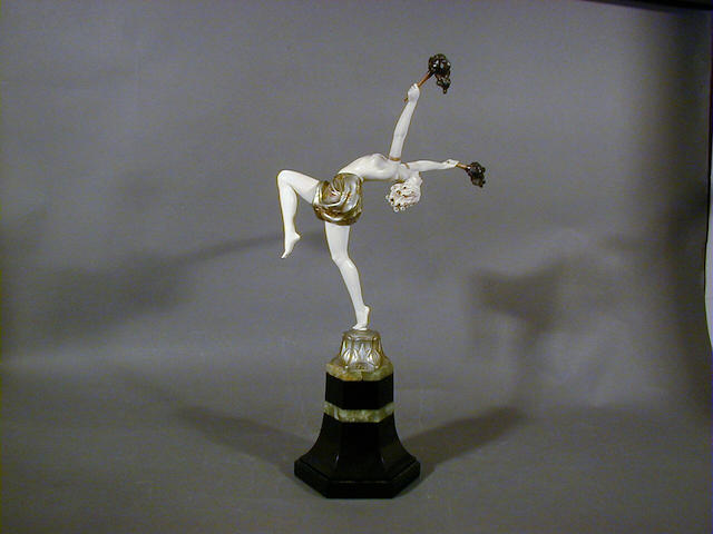 Ferdinand Preiss, circa 1925 'Torch Dancer', a Cold-Painted Bronze and Carved Ivory Figure 41cm high, signed in cast