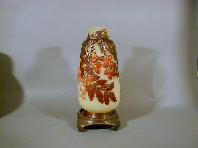 Emile Gallé, circa 1900 A Mould Blown Glass Vase  29.5cm high, cameo signature