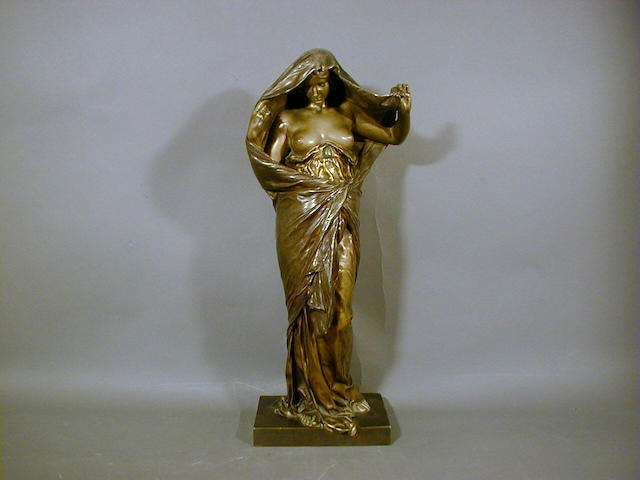 Louis Ernest Barrias, circa 1900 'Nature Revealing Herself to Science', A Patinated Bronze Figure 43.5cm high, signed 'E.Barrias' in cast