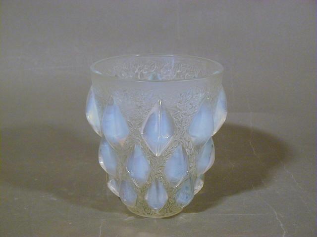 René Lalique, design 1927 'Rampillon', An Opalescent Glass Vase 12.5cm high, etched 'R.Lalique France'