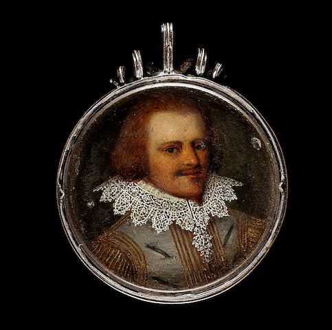 Flemish School, A Nobleman, wearing grey slashed jerkin with gold striped sleeves, fine white lace collar, his auburn hair worn long