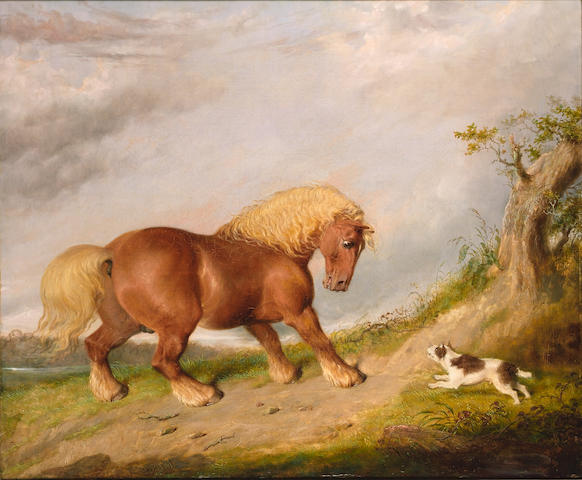 Martin Theodore Ward (British, 1799-1874) Portrait of a Suffolk Punch with a terrier, 61.3 x 74cm