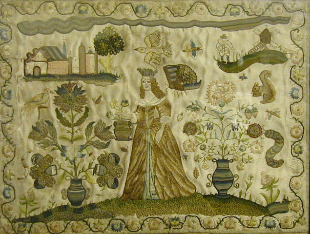 A 17th Century embroidered panel,