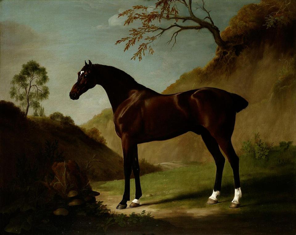 George Stubbs (Liverpool 1724-1806 London) A dark bay thoroughbred in a landscape 101.7 x 127 cm. (40 x 50 in.)