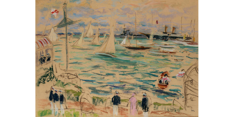 Paul Maze (British, 1887-1979) A Yacht race during Cowes Regatta with the Royal Yacht 'Victoria and Albert III' offshore 53.3 x 73.7cm. (21 x 29in.)