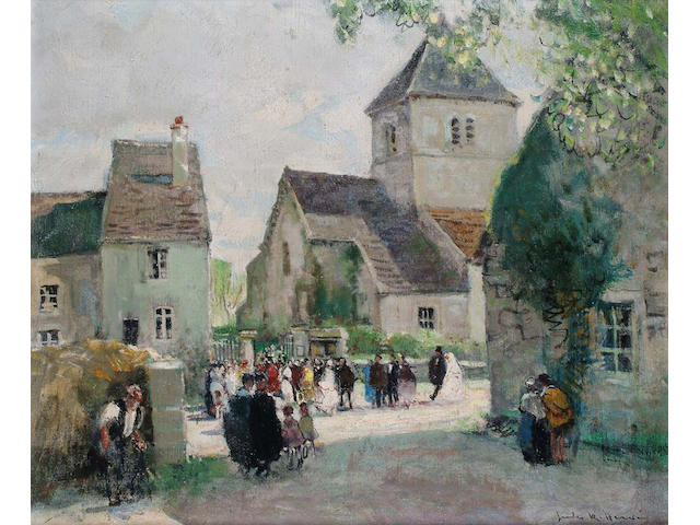 Jules Herve (French, 1887-1981) The Village Wedding 44 x53 cm