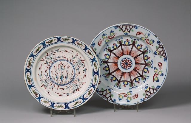 A large London or Bristol Delft plate, circa 1730,
