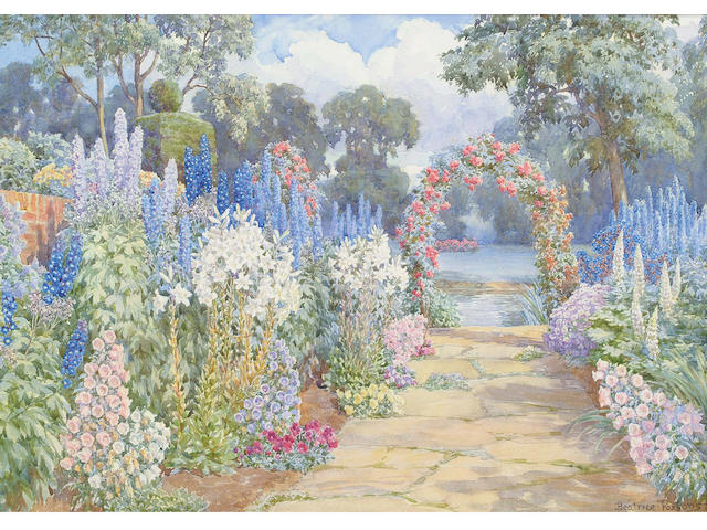 Beatrice Parsons (British, 1870-1955) A path bordered with Lupus, Convolvulus, Lillies, Delphiniums and Pansies, with a Rose Pergola at the end 25.5 x 35.5cm