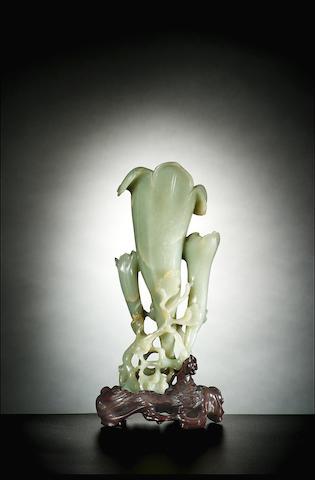 White jade triple magnolia vase + stand