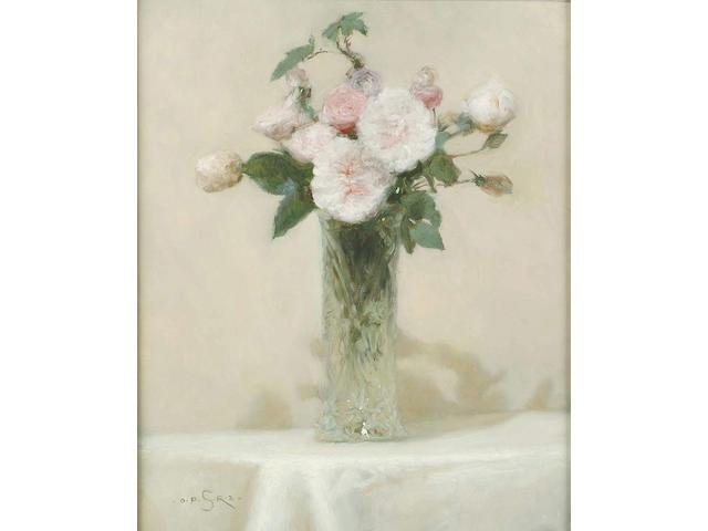 Paul Seaton (British, 20th Century) 'Maidens Blush' Alba Roses in a cut-glass vase in a cut-glass vase 50.8 x 40.5cm
