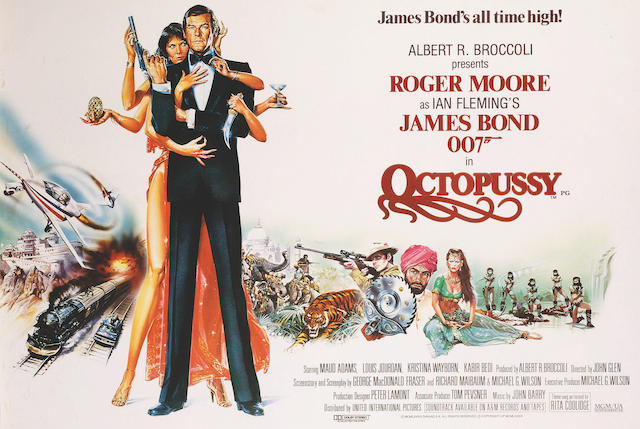 Roger Moore as Ian Flemming's James Bond 007, an Octopussy advertising poster, 100 x 66cm (39.5 x 26ins)