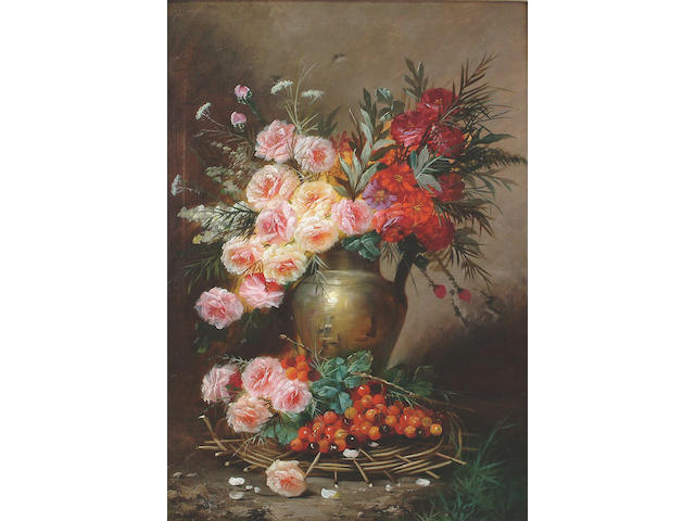 Max Albert Carlier (Belgian, 1872-1938) Still life of a jug filled with Roses, Chrysanthemums, Paeonies and Cow Parsley, with Cherries in the foreground 98 x 68cm