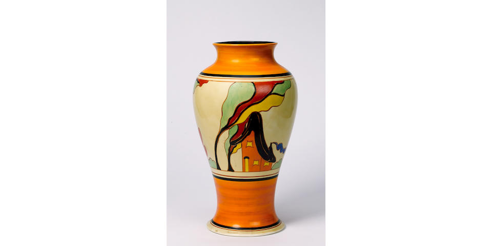 'Orange House' A Meiping Vase 36cm high, Fantasque and Bizarre mark and facsimile signature