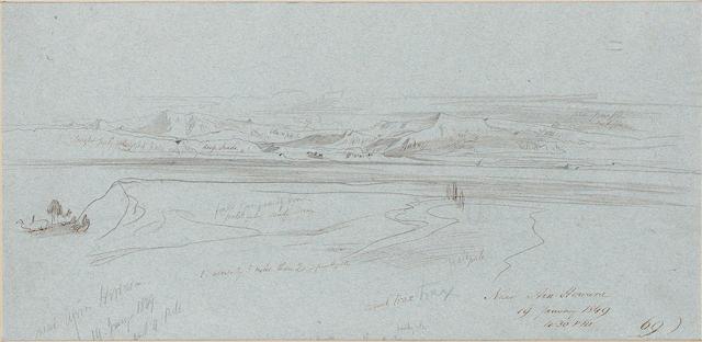 Edward Lear (British, 1812-1888) Near Ain Howara, Sinai Peninsula 19.7 x 40.2 cm. (7 3/4 x 16 in.)