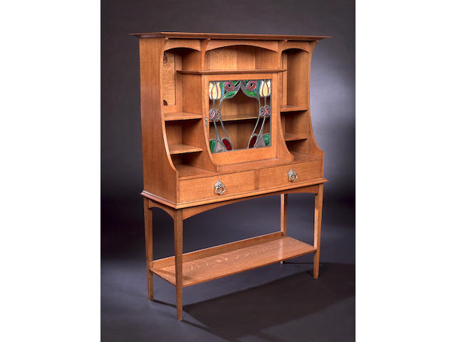A Scottish oak side cabinet, In the Glasgow style, 114cm x 147.5cm x 37cm