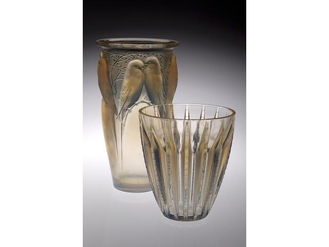 'Ceylan', A Lalique opalescent glass vase, 24cms high, wheel carved mark 'R Lalique'
