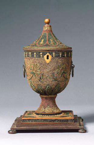 An unusal George III curled paper urn Tea Caddy, 34cm. high