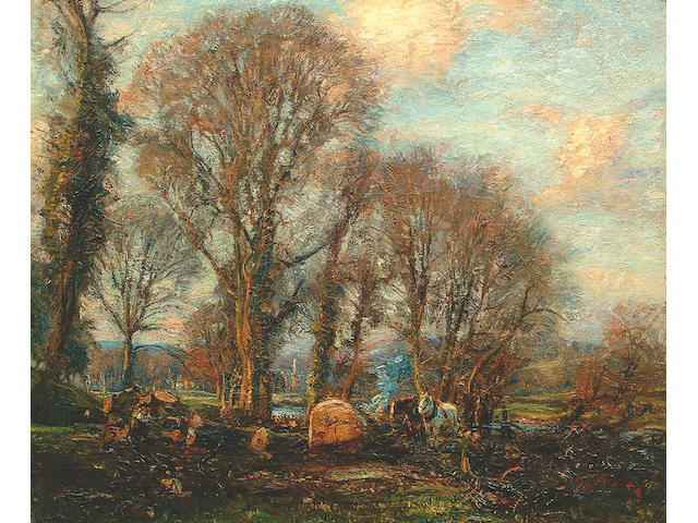 Herbert F. Royle (1870-1958) Figures cutting timber at Bolton Abbey, Wharfedale 51 x 61cm