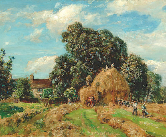 "Herbert F. Royle (1870-1958) ""Haymaking at Nessfield"" with a cottage in the distance, said to be Herbert Royle's house at Nessfield 51 x 61cm"