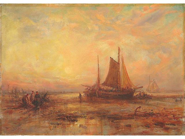"William Edward Webb (1862-1903) ""Nr. Cullercoats, Northumberland Coast""; ""On the Shore, Nr. Yarmouth"" each 26 x 36cm"