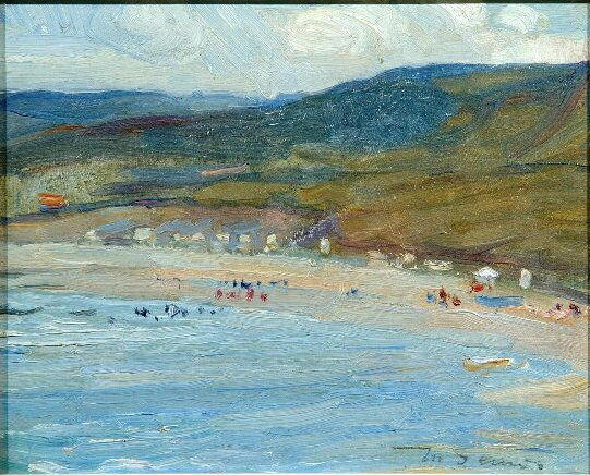 Mark Senior N.P.S. (1864-1927) A view of Runswick Bay 19.5 x 25cm
