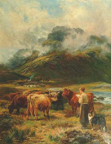"""Henry Garland (fl.1854-1890) """"Driving the Cattle Hame"""" 91.5 x 71cm"""