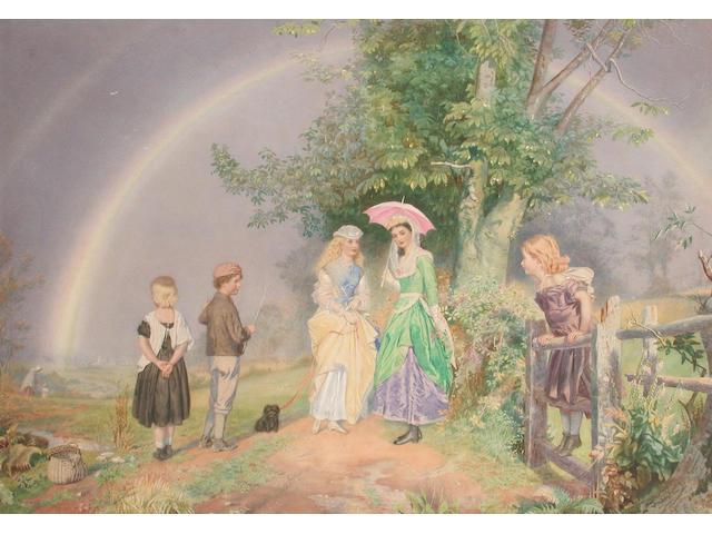John Simmons (British, 1823-1876) A chance encounter 54.8 x 77 cm.