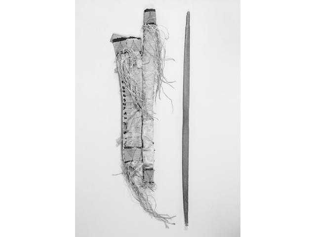 A Sioux Wood Bow with Hide Bowcase and Quiver