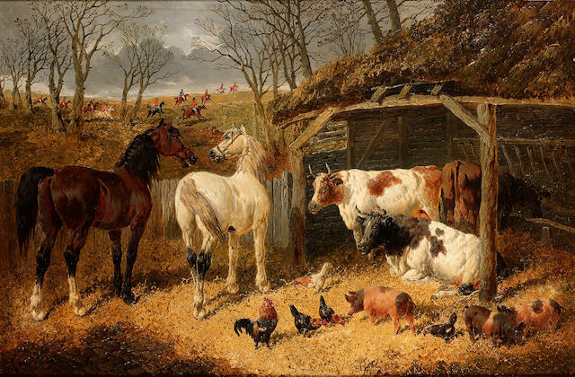 John Frederick Herring, Jnr. (British 1815-1907) A farmyard scene with a hunt passing in the distanc